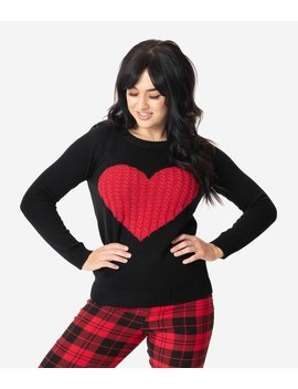 Black Pullover Sweater With Red Knit Heart by Unique Vintage