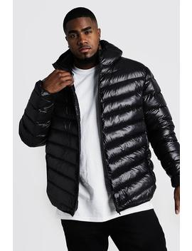 Big & Tall Quilted Zip Jacket With Shine by Boohoo