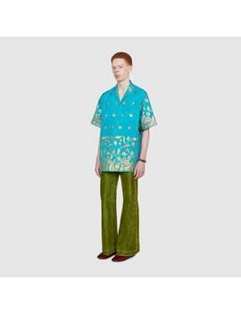 Lamé Fil Coupé Oversize Bowling Shirt by Gucci