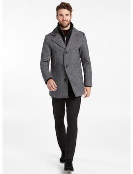 Double Collar Tweed Peacoat by Le 31