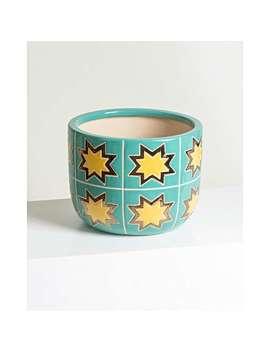 Star Green Ceramic Plant Pot Medium by Olivar Bonas