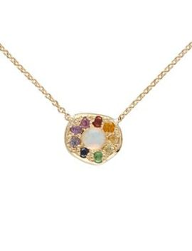 Disc Necklace, Rainbow Opal by Elisa Solomon
