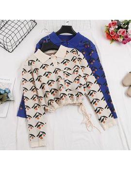 Be Bonita   Drawstring Hem Patterned Cropped Knit Top by Be Bonita