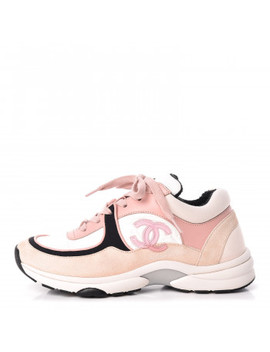 Chanel Nylon Lambskin Suede Calfskin Cc Sneakers 37 Pink by Chanel