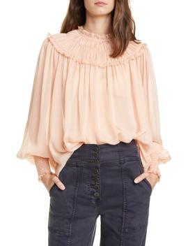 Arabella Shirred Silk Blouse by Ulla Johnson