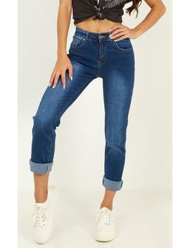 Michaela Jeans In Mid Wash Denim by Showpo Fashion