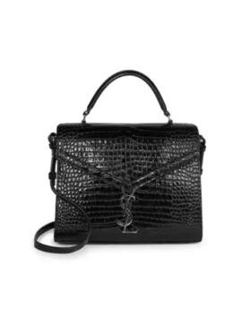 Cassandra Croc Embossed Leather Satchel by Saint Laurent