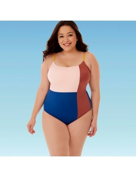 Women's Plus Size Slimming Control Colorblock One Piece Swimsuit   Beach Betty By Miracle Brands by Beach Betty By Miracle Brands