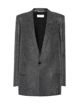 Blazer In Principe Di Galles Lamé by Saint Laurent