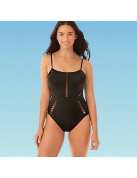 Women's Slimming Control Mesh Inset One Piece Swimsuit   Beach Betty By Miracle Brands Black by Beach Betty By Miracle Brands