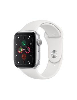 Apple Watch Series 5 Gps, 44mm Silver Aluminum Case With White Sport Band   S/M & M/L by Apple