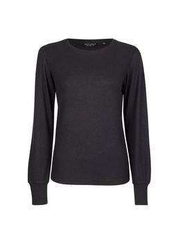 Black Ribbed Puff Sleeve Top by Dorothy Perkins