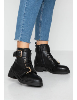 Wide Fit Bestie Double Buckle Lace Up Hiker   Cowboy/Biker Ankle Boot by Miss Selfridge Wide Fit