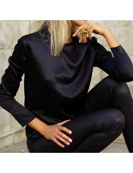 Many Colors Flowy Long Sleeve Silk Blouse Top Black Classic Women Silk Satin Shirt Office Wear Women Silk Clothes Round Neck Silk Clothing by Etsy
