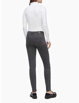 Monogram Logo Mock Neck Long Sleeve Bodysuit by Calvin Klein
