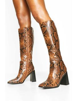Square Toe Snake Block Heel Knee High Boots by Boohoo