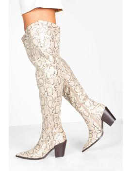 Square Block Heel Pointed Toe Thigh High Boots by Boohoo