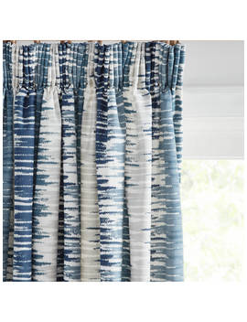 John Lewis & Partners Ikat Pair Lined Pencil Pleat Curtains, Blue by John Lewis & Partners
