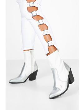 Metallic Panel Sock Western Boots by Boohoo