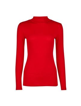 Red Plain Funnel Neck Cotton T Shirt by Dorothy Perkins