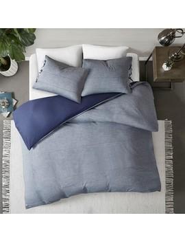 3pc Matteo Cotton Duvet Cover Set Denim Blue by Jla Home
