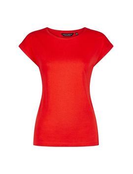 Red Organic Cotton Roll Sleeve T Shirt by Dorothy Perkins