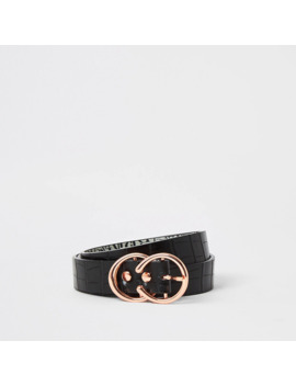 Black Croc Embossed Mini Double Ring Belt by River Island