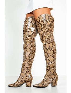 Thigh High Snake Western Boots by Boohoo