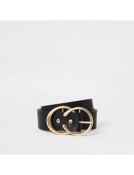 Black Double Ring Boxed Belt by River Island