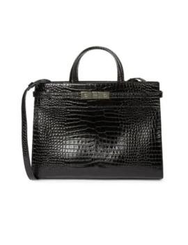 Small Sac De Jour Croc Embossed Leather Satchel by Saint Laurent