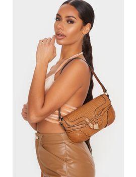 Tan Croc Panel Padlock Shoulder Bag by Prettylittlething