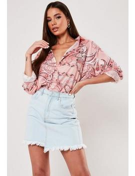 Pink Paisley Print Extreme Oversized Satin Shirt by Missguided