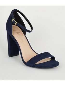 Wide Fit Navy Suedette 2 Part Block Heels by New Look