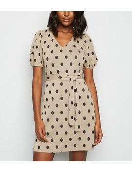 Camel Spot Puff Sleeve Tunic Dress by New Look