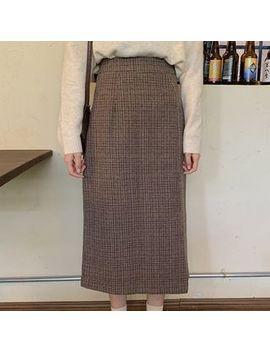 Velero   High Waist Plaid Medium Long Skirt by Velero