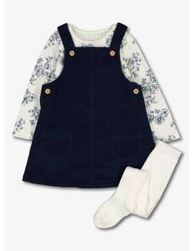 Navy & Cream Pinafore, Bodysuit & Tights   Up To 3 Mthstuc135915540 by Argos
