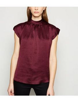 Plum Satin Roll Neck Blouse by New Look