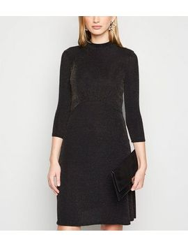 Tall Black Glitter Long Sleeve Dress by New Look