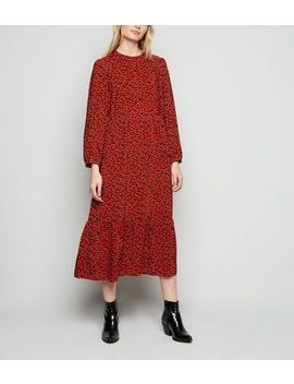 Red Abstract Spot Tiered Smock Midi Dress by New Look