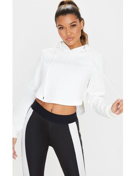 Prettylittlething White Embossed Cropped Sports Hoodie by Prettylittlething