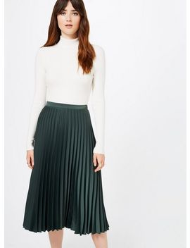 Premium Green Pleated Midi Skirt by Miss Selfridge