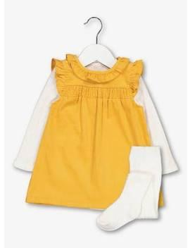 Mustard & Cream Pinafore, Bodysuit & Tights Set   18 24 Monttuc135442324 by Argos