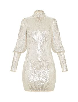 Silver Sequin Puff Sleeve Bodycon Dress by Prettylittlething