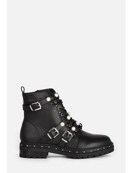 Black Mock Pearl Strap Biker Boots by Missguided