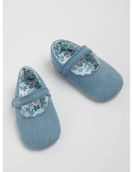 Blue Scalloped Faux Suede Shoes   12 18 Monthstuc136101169 by Argos