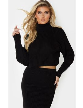 Tall Black Roll Neck Cropped Knitted Sweater by Prettylittlething