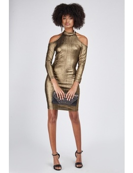 Metallic Cold Shoulder Halter Neck Dress by Everything5 Pounds