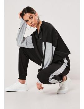 Black Co Ord Rib Missguided Side Stripe Joggers by Missguided