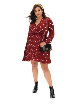 Rust Spot Wrap Skater Dress by Simply Be