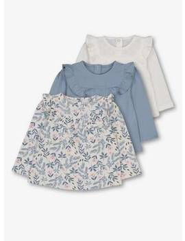 Blue & White Floral & Plain Frill Top 3 Pack   18 24 Monthstuc135941334 by Argos